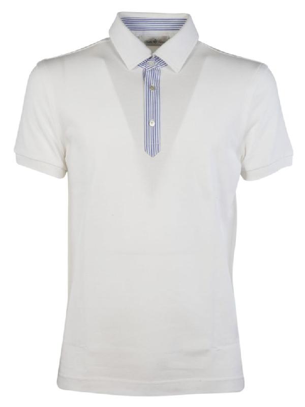 Della Ciana Contrast Detail Polo Shirt In Bianco