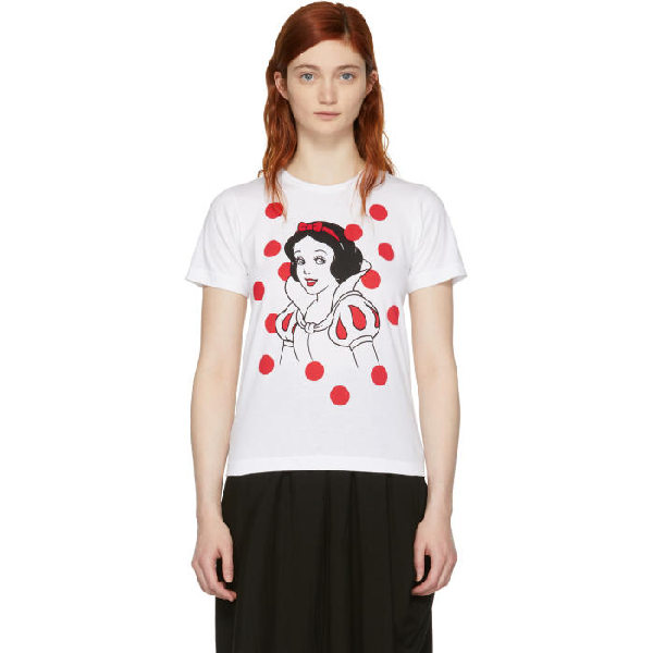 Comme Des Garcons Girl White Disney Edition Snow White T-shirt In White + Red