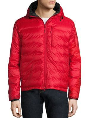 Canada Goose Lodge Hooded Jacket In Red Black