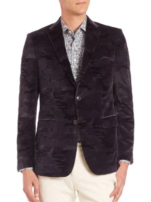 Etro Camo Printed Jacket In Light Blue