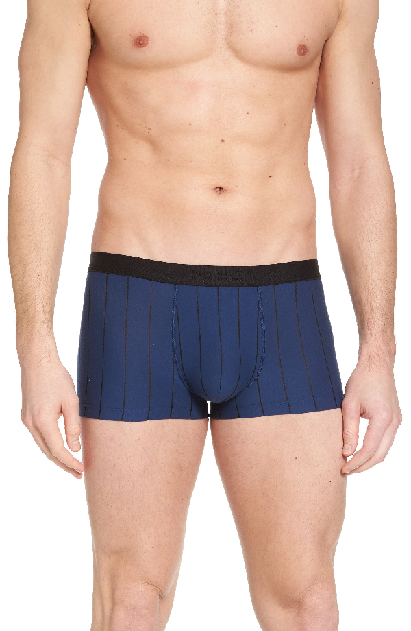 Hanro Striped Cotton Boxer Briefs In Ferminate Blue