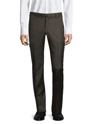 Isaia Men's Gregory Basic Wool Trousers In Dark Brown
