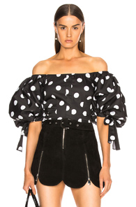 Caroline Constas Nella Top In Black,geometric Print