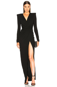 Alexandre Vauthier Ruched Gown In Black
