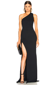 Michelle Mason Back Strap Gown In Blue In Midnight