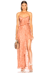 Michelle Mason Strappy Ruffle Gown In Polka Dots,Pink