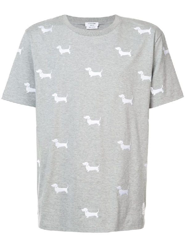 Thom Browne Hector Embroidery Shortsleeved T-shirt In Grey