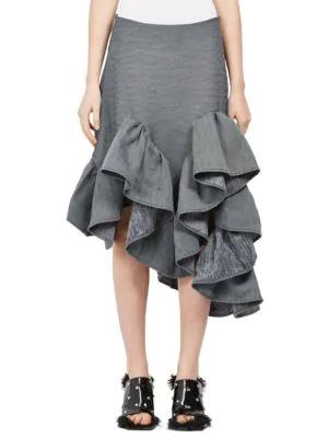 Marques' Almeida Woman Ruffled Asymmetric Cotton-blend Twill Skirt Dark Gray In Grey