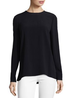 Proenza Schouler Long-sleeve Split Hem Top In Black