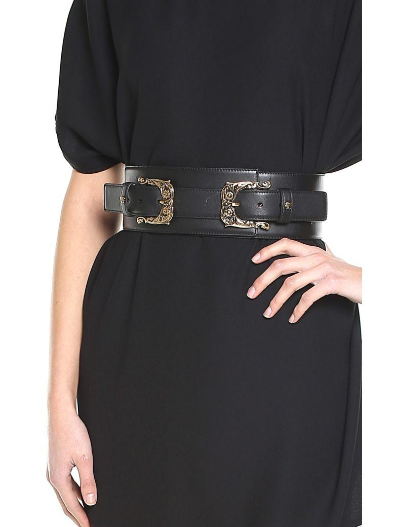 395fe8074f Double Baroque-Buckle Corset Leather Belt in Nero