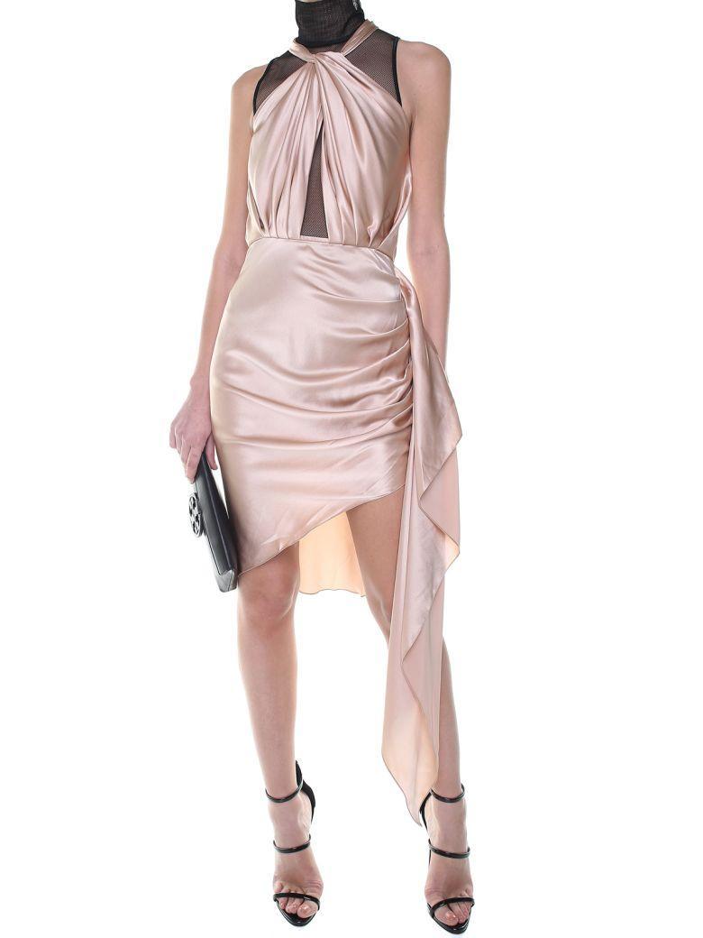 Vatanika Design Gathered Ruffle-trim Satin Mini Dress In Beige