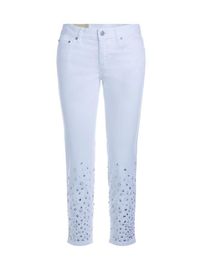 521174ce63a2 Michael Kors Izzy White And Crystal Skinny Jeans In Bianco   ModeSens