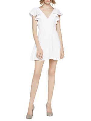 Bcbgeneration Angel-wing Fit-&-flare Dress In Optic White