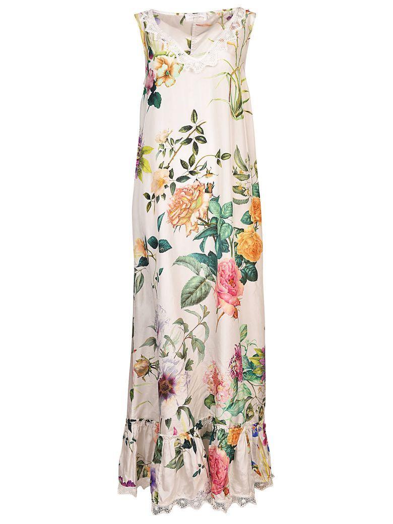 Parosh Floral Dress In Fantasia Panna
