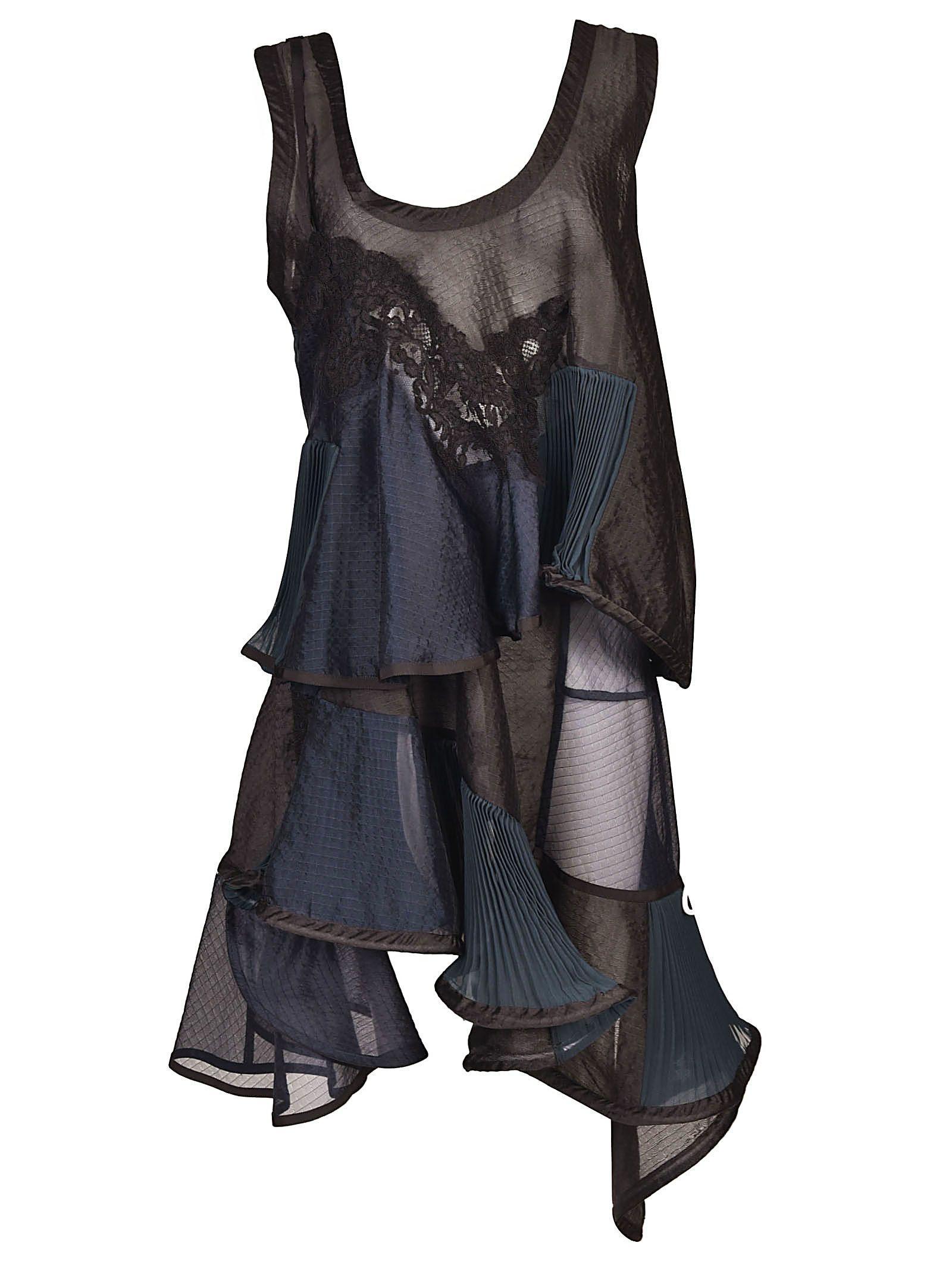 Sacai Patchwork Dress In Black/navy/green