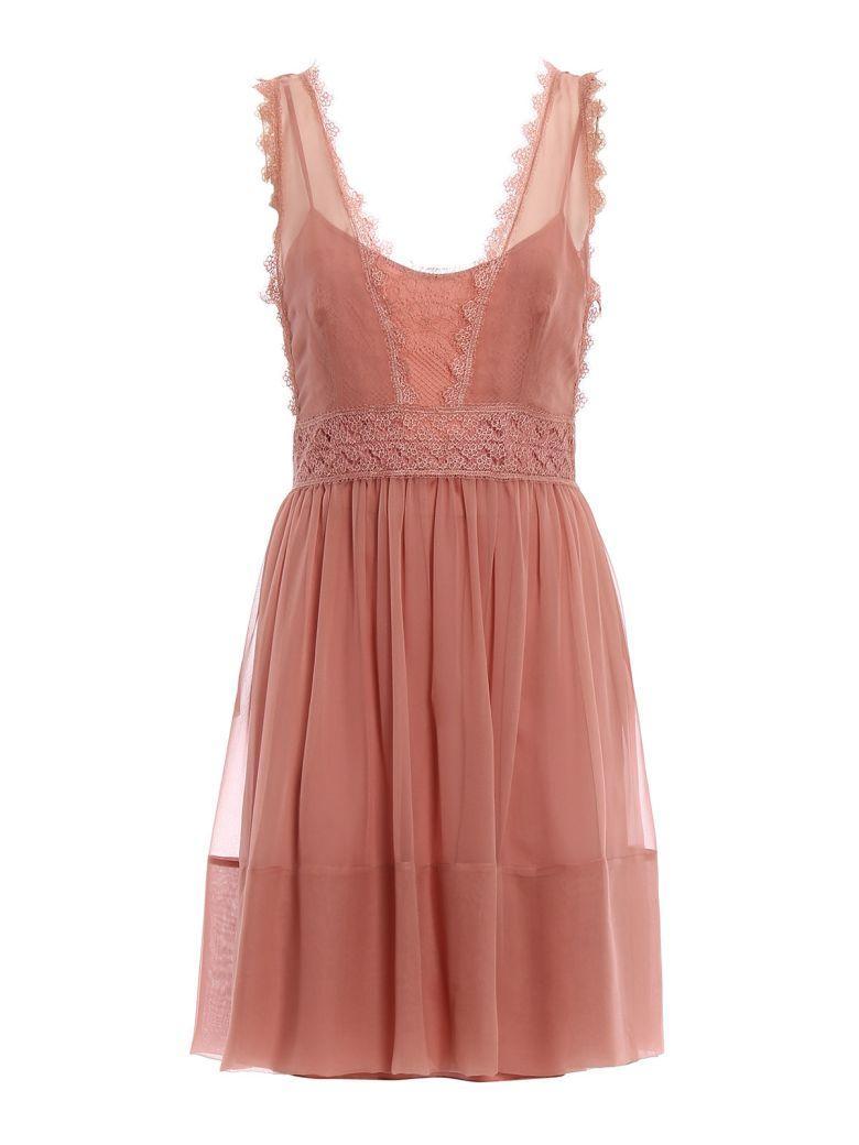 Alberta Ferretti Georgette Dress In Pink