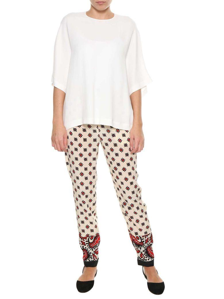Red Valentino Nude And Cherry Silk Pants In Multi