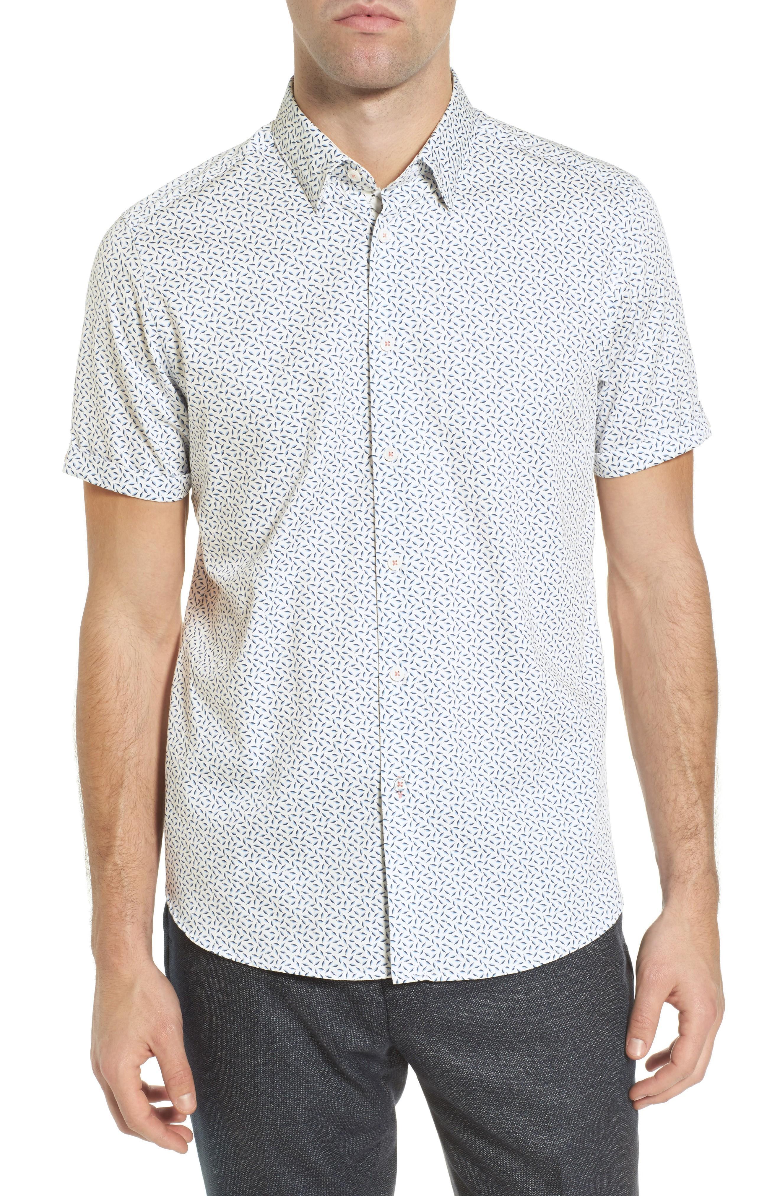 Ted Baker Narntt Extra Slim Fit Short Sleeve Sport Shirt In White