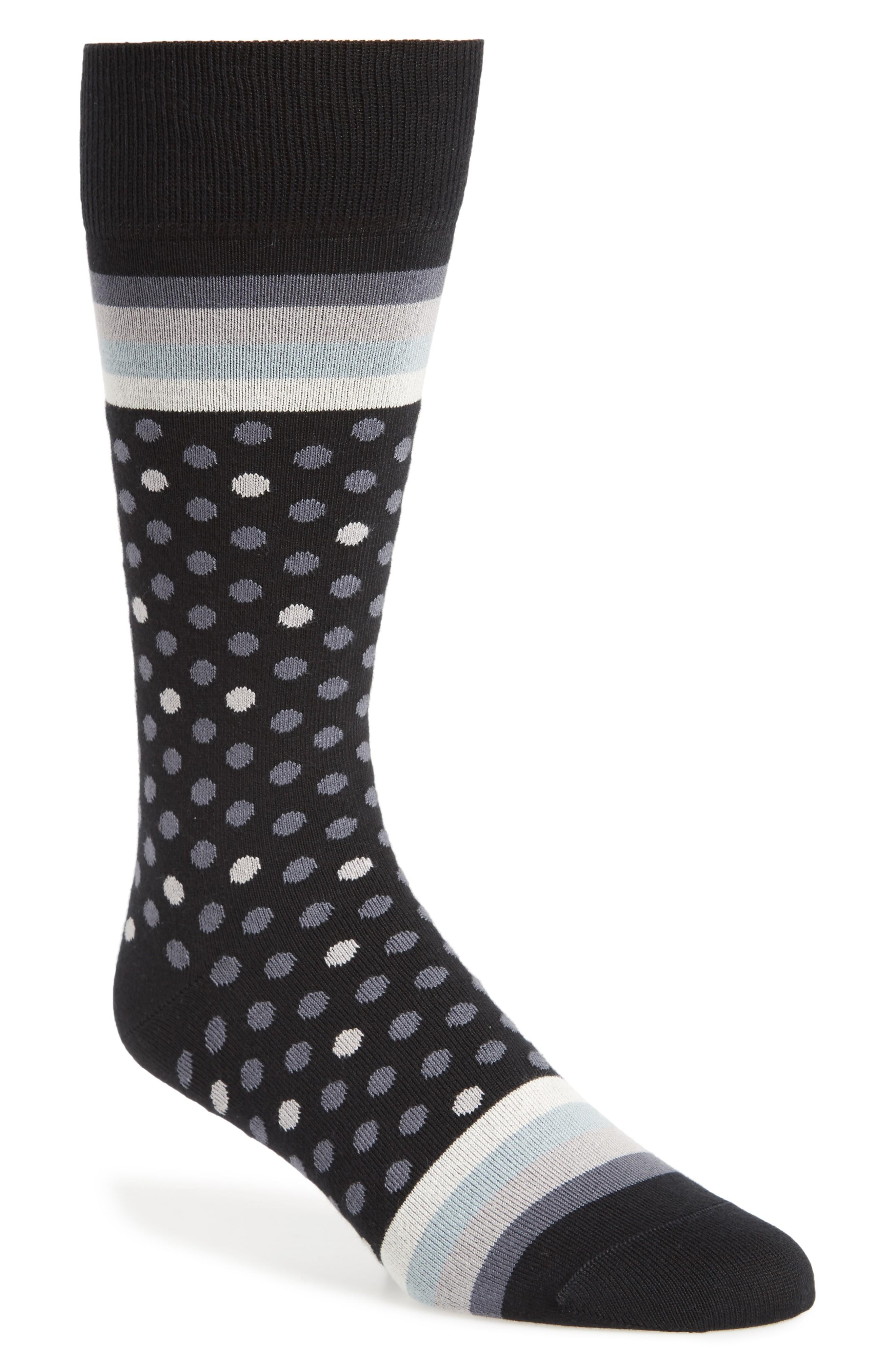 Paul Smith Dot & Stripe Socks In Black/ Grey