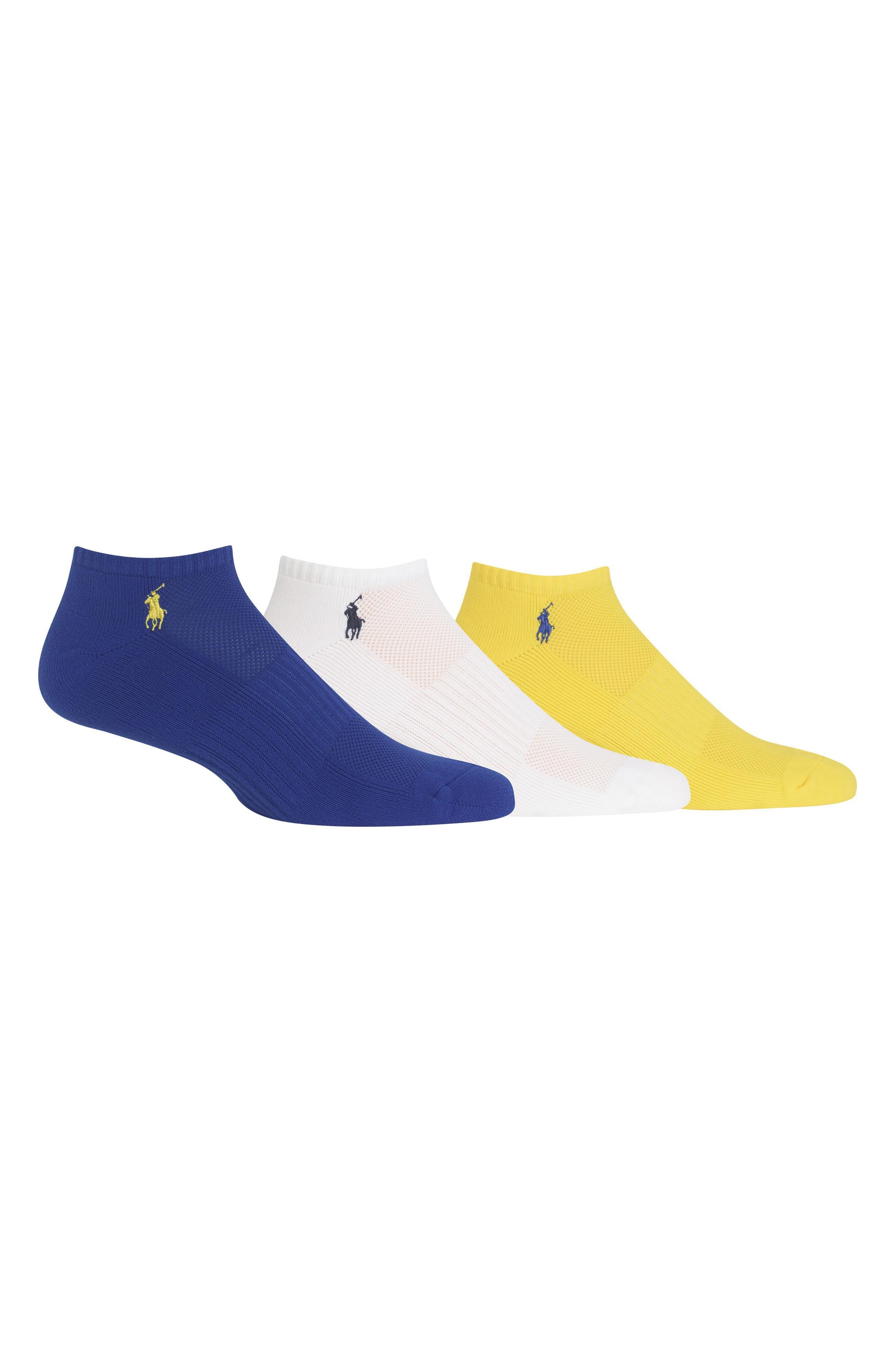 Polo Ralph Lauren 3-pack Technical Sport Socks In Royal/ White/ Yellow