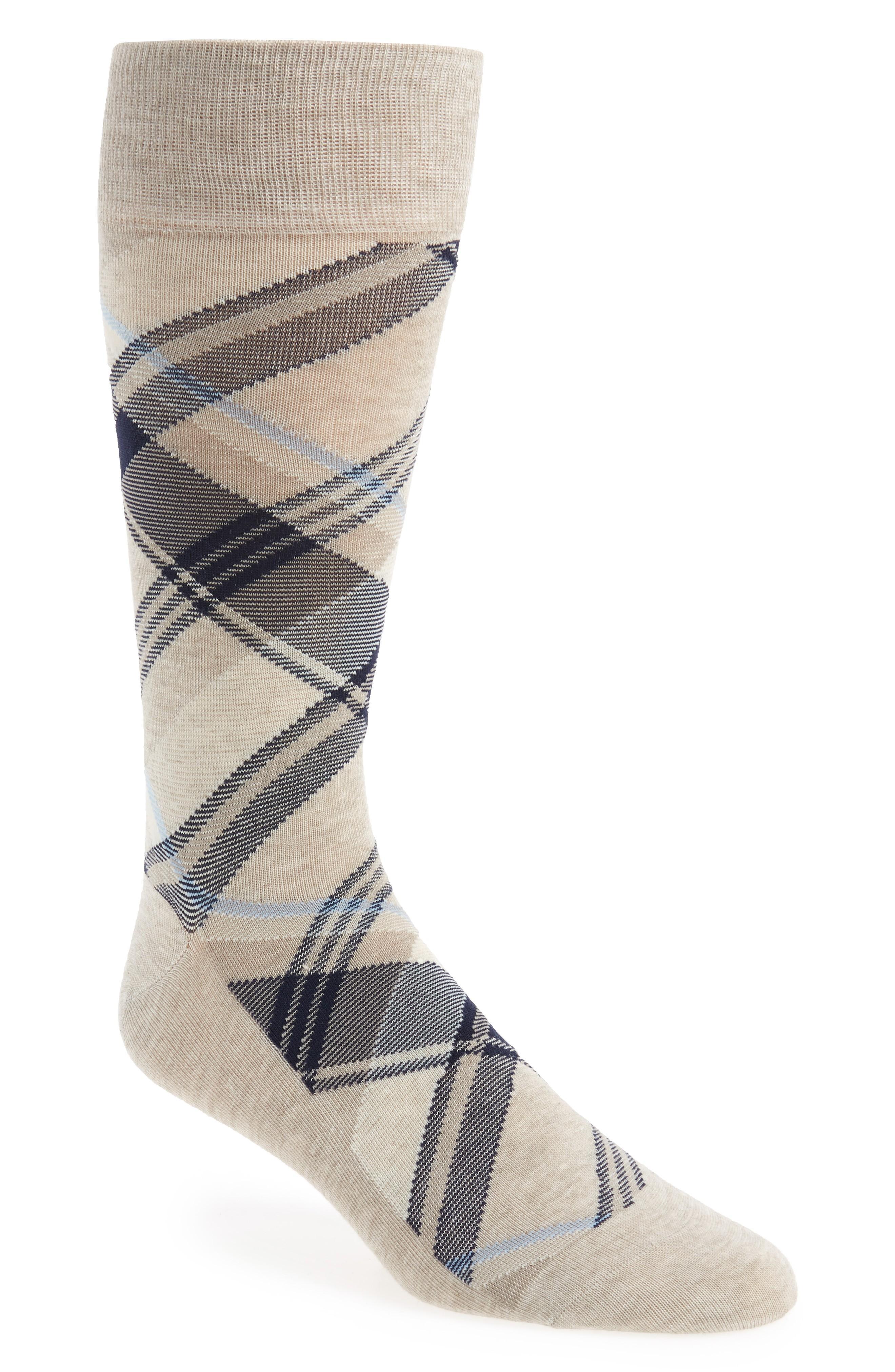 Cole Haan Men's Diagonal Plaid Crew Socks In Oatmeal Heather