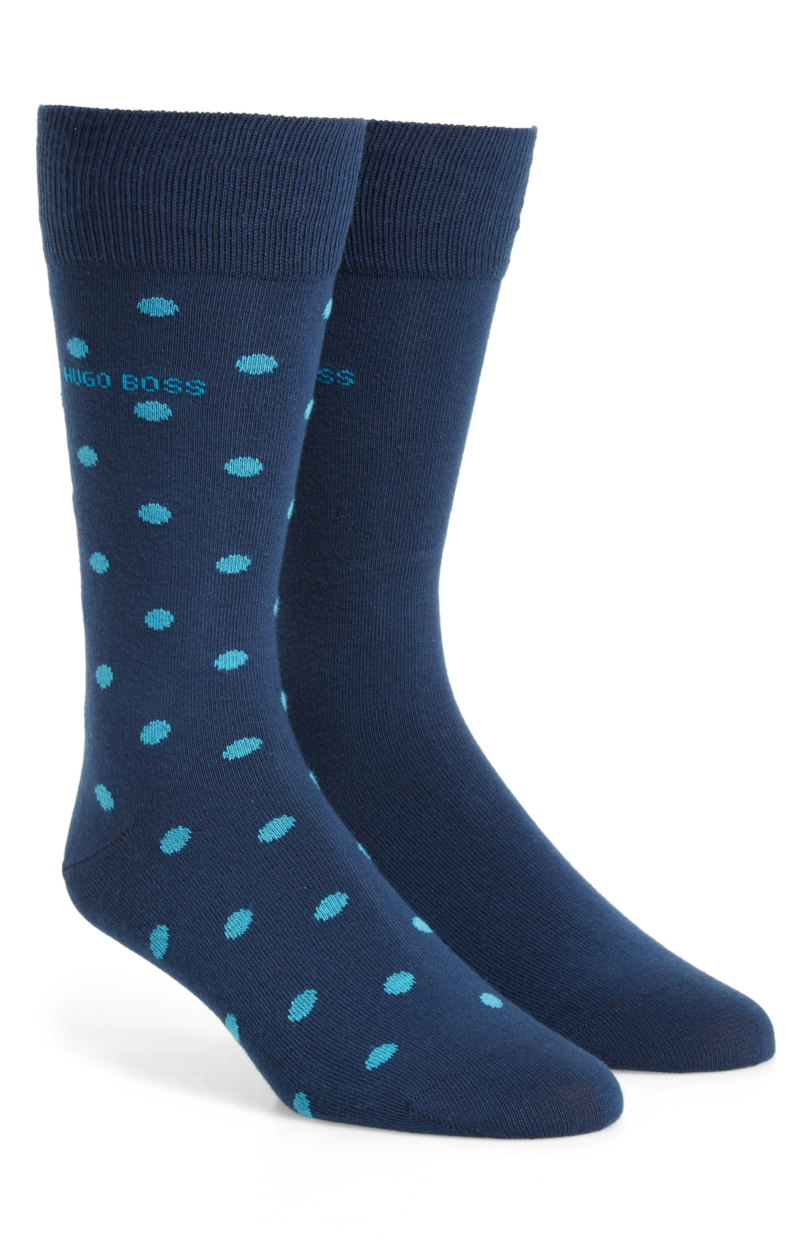 Hugo Boss Dot Socks In Blue