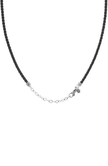John Hardy Leather Cord Necklace In Silver/ Black