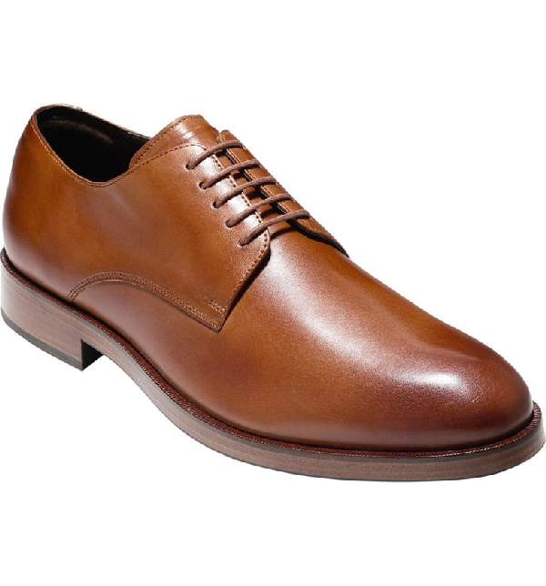 Cole Haan Men's Harrison Grand Leather Derby Shoe, Brown In British Tan Leather
