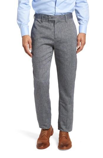 Ted Baker Bektrot Flat Front Solid Linen Blend Pants In Blue