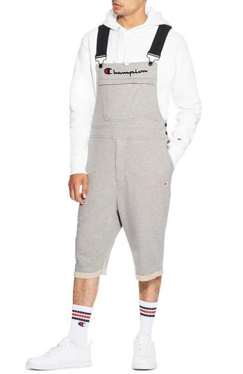 Champion Reverse Weave Terry Short Overalls In Oxford Gray
