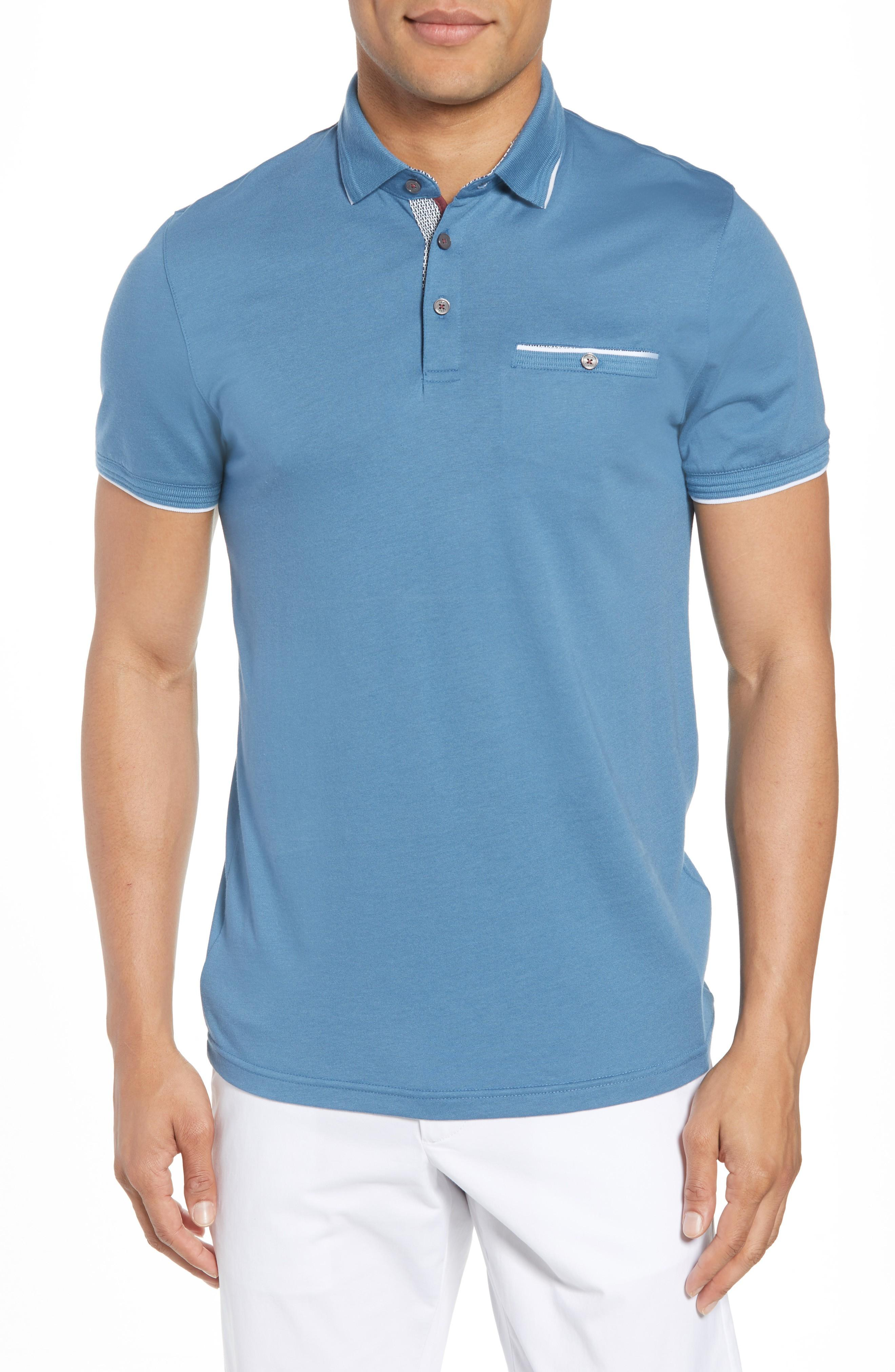 Ted Baker Derry Modern Slim Fit Polo In Blue