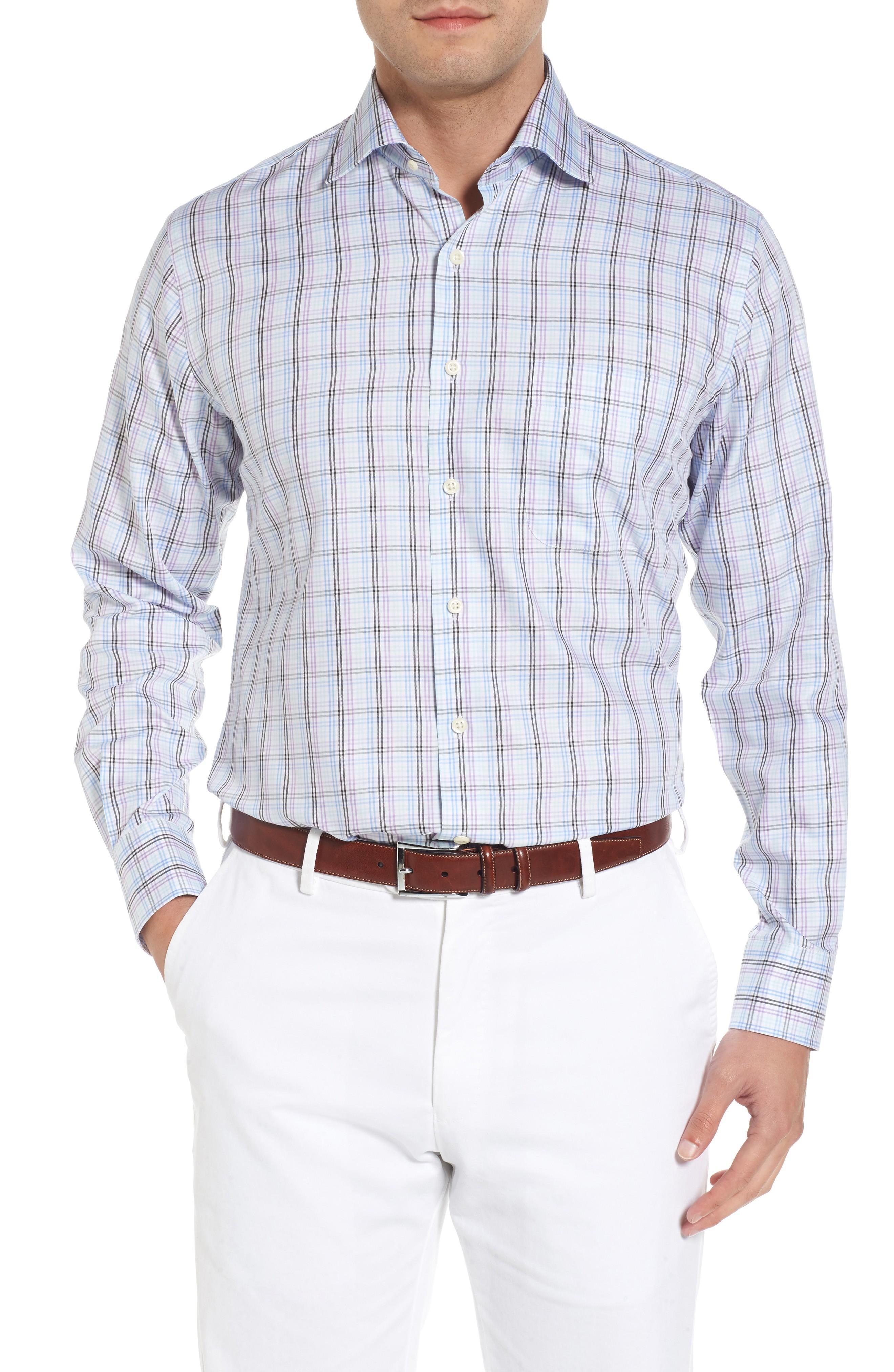 Peter Millar Crown Soft Daybreak Regular Fit Check Sport Shirt In Heron Blue