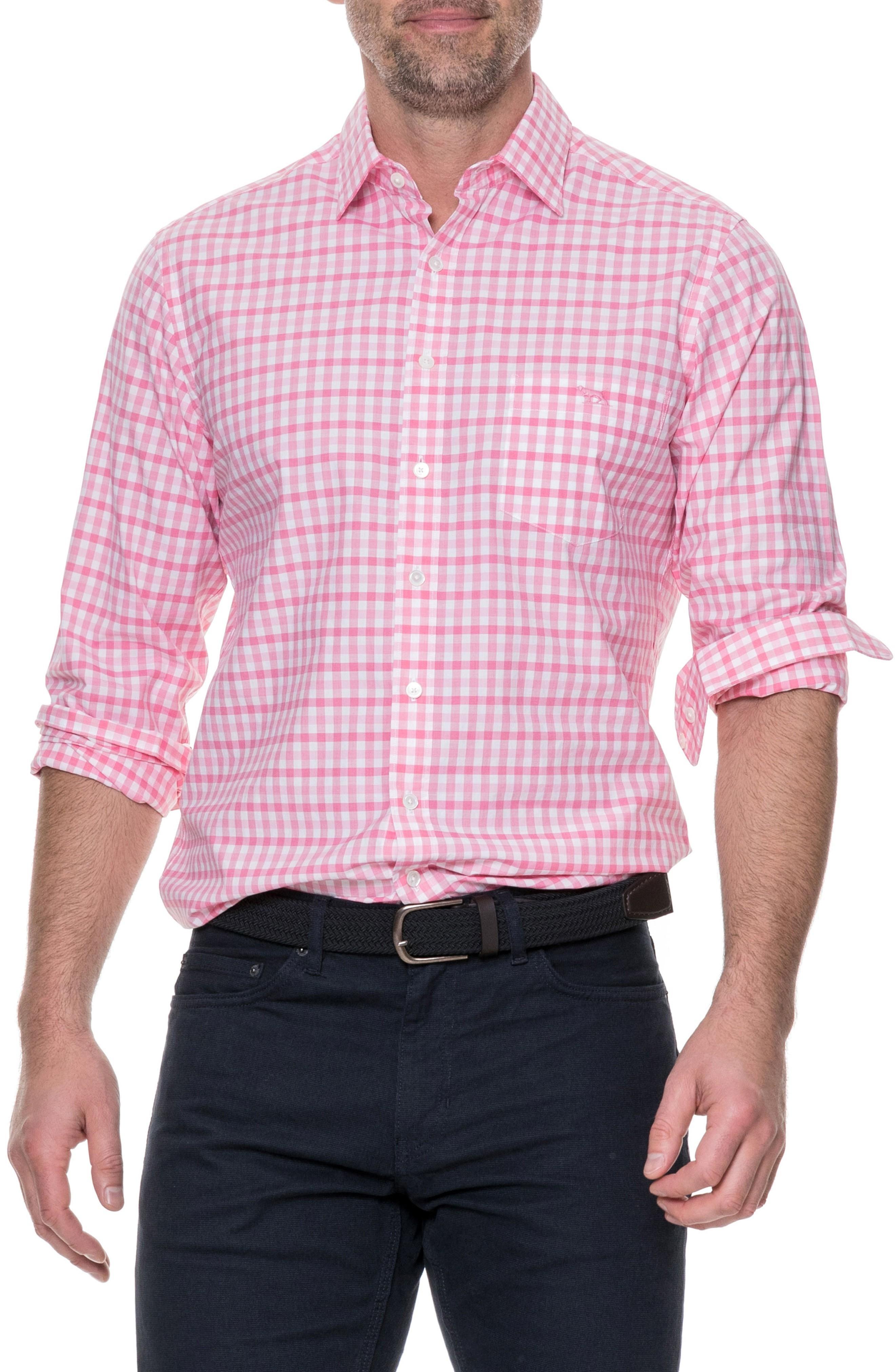 Rodd & Gunn Shorecliffe Regular Fit Gingham Sport Shirt In Fuchsia