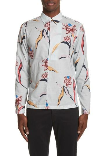 Paul Smith Floral Woven Shirt In 03 Light Blue