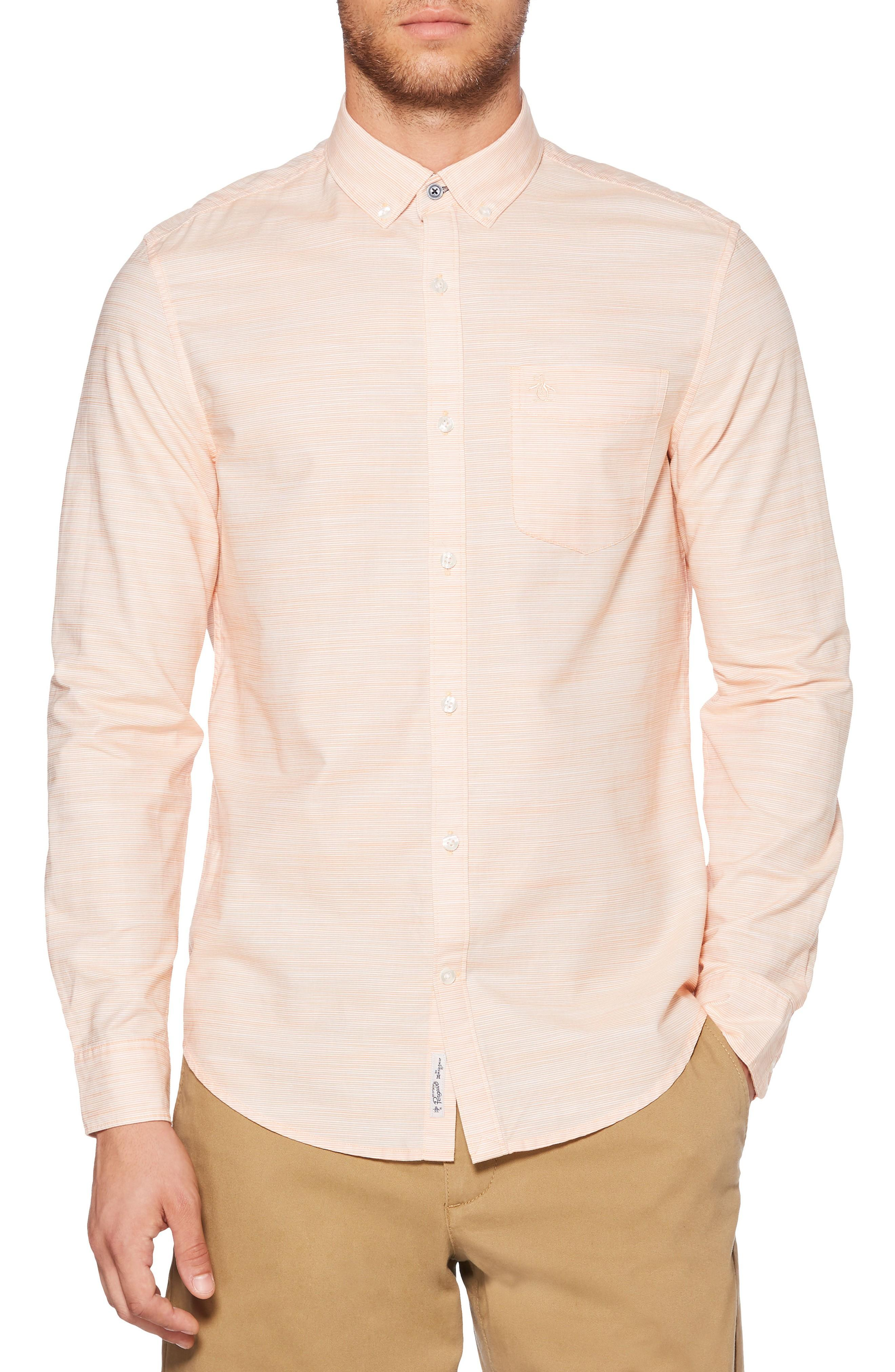 Original Penguin Mini Stripe Shirt In Mock Orange