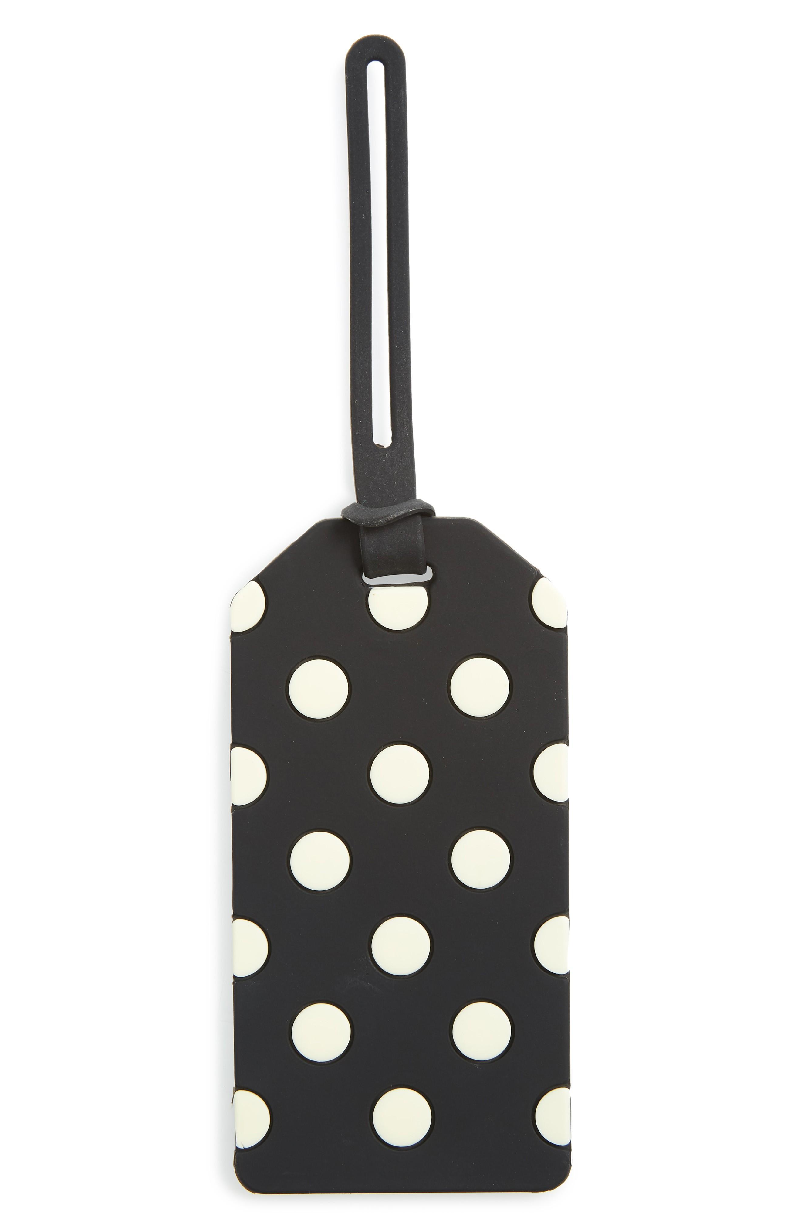 Kate Spade Polka Dot Luggage Tag - Black In Black Dots
