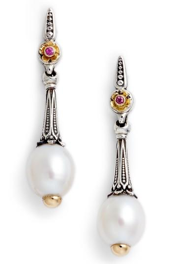 Konstantino Pearl & Pink Sapphire Drop Earrings In Silver/ Gold/ White/ Pink