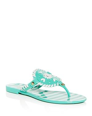 Jack Rogers Women's Georgica Striped Jelly Thong Sandals In Seafoam/ White