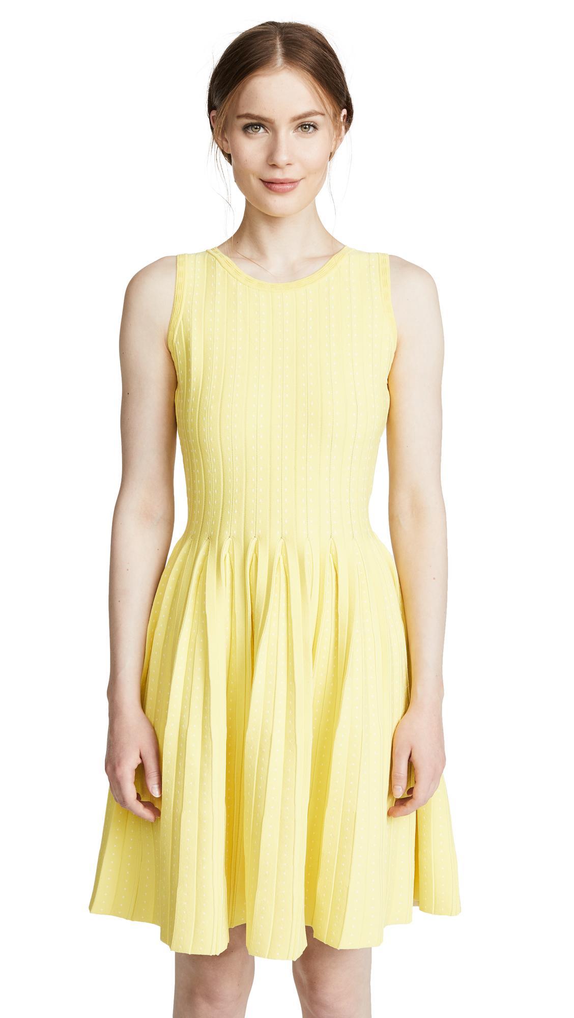 2c86bcb2edd962 Milly Dot Pleat Fit   Flare Dress In Lemon White