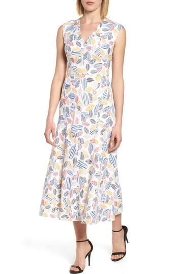 Anne Klein Leaf Print Fit And Flare Dress In Optic White/ Tomato Combo