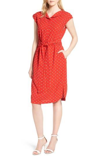 ec72ca74568 Anne Klein Polka Dot Shirtdress In Tomato/ Parchment Combo   ModeSens