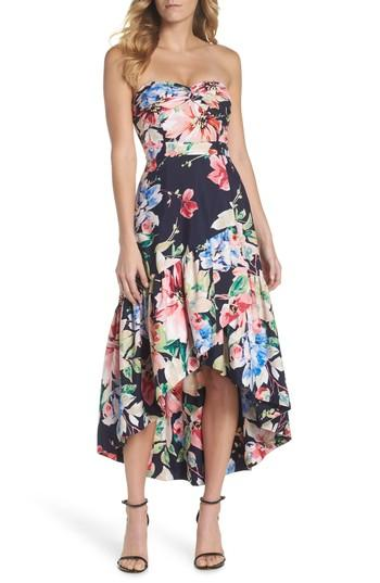 Eliza J Strapless High/low Dress In Navy/ Red