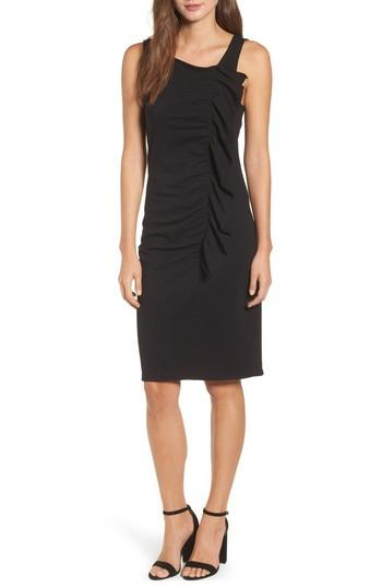 Bobeau French Terry Ruffle Front Dress In Black