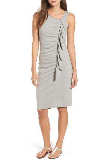 Bobeau French Terry Ruffle Front Dress In Heather Grey