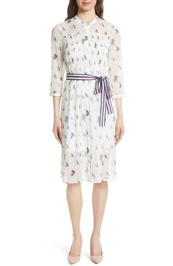Ted Baker Colour By Numbers Zenaa Print Shirtdress In Ivory