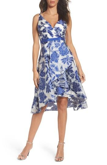Adrianna Papell Burnout Jacquard Fit & Flare Dress In Royal/ Ivory