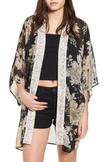 Band Of Gypsies Floral Print Kimono In Black Gold Pink