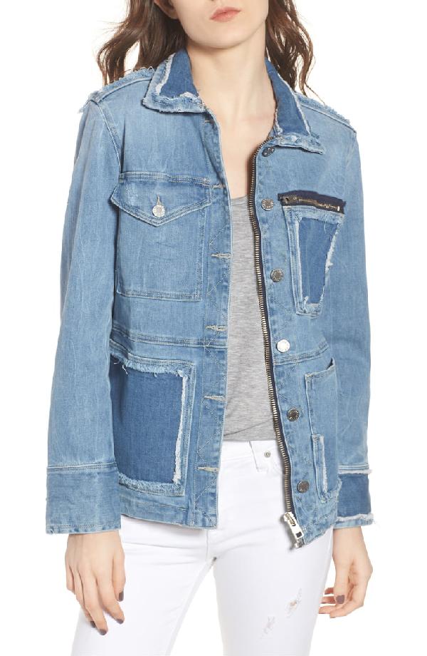 Zadig & Voltaire Kick Destroy Deconstructed Denim Jacket In Bleu