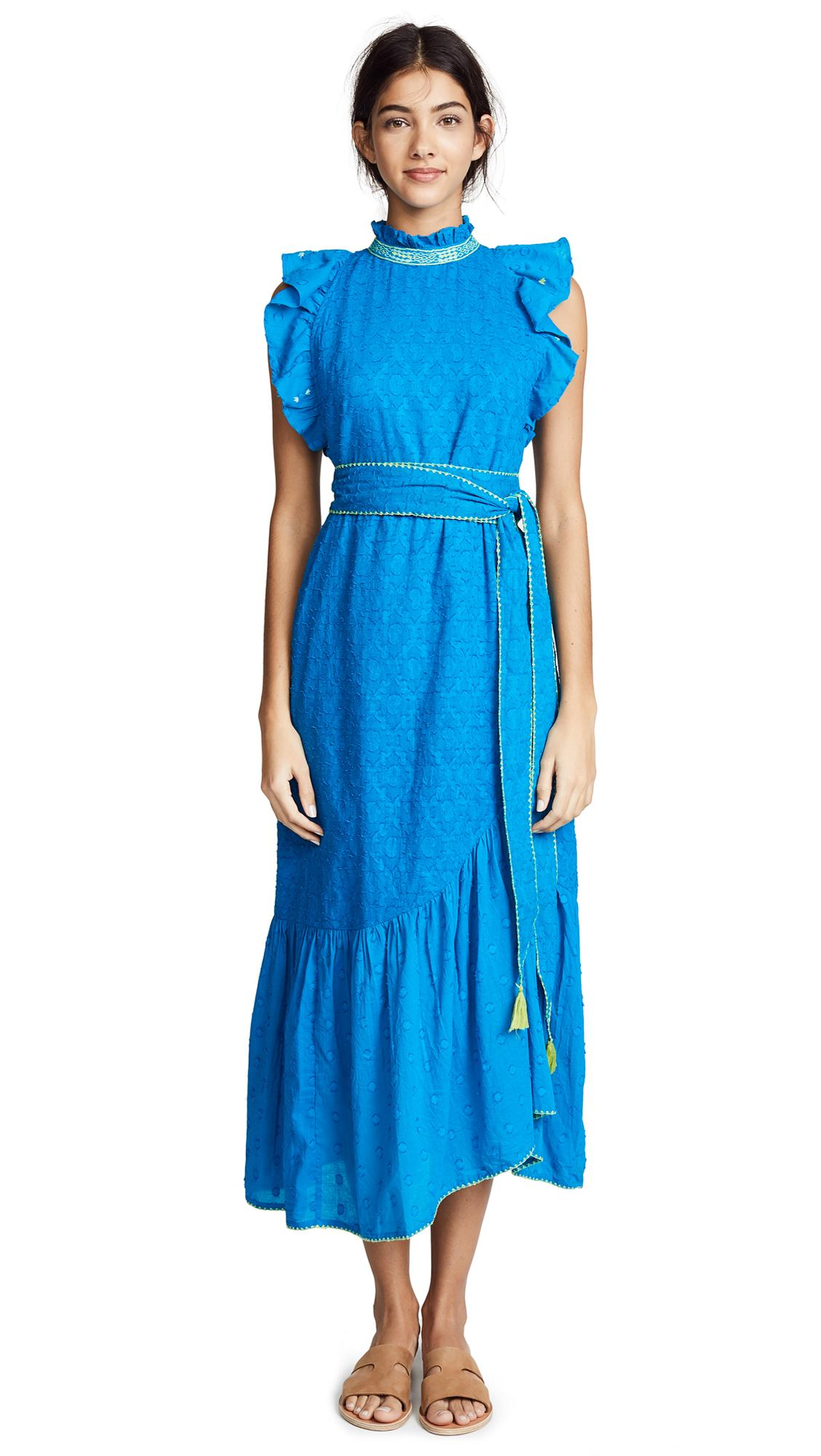 Banjanan Bulbul Dress In Turquoise Cotton Dobby