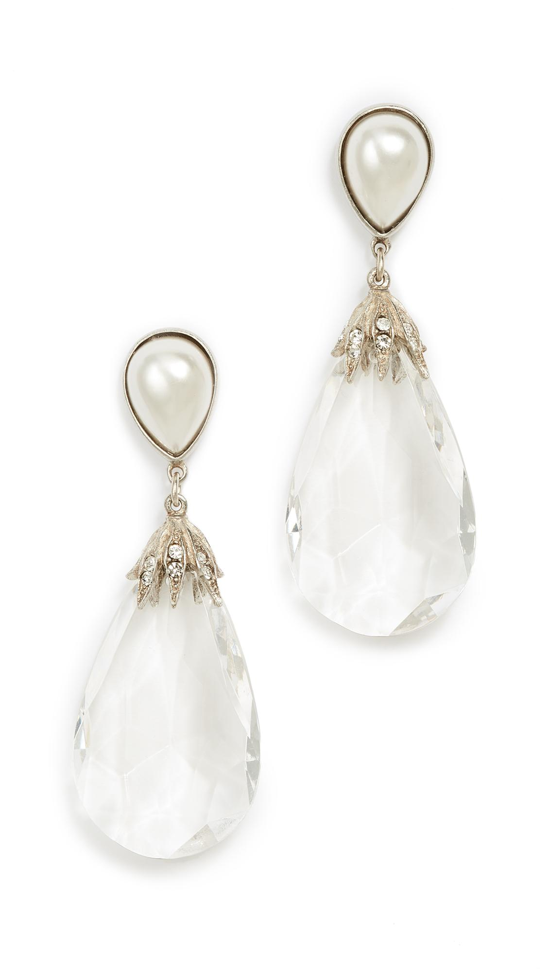 Ben-amun Anna Earrings In Silver/pearl